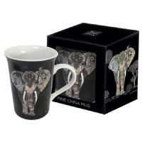 Beautiful Elephant Gold Foil Art Design Mug Gift Boxed